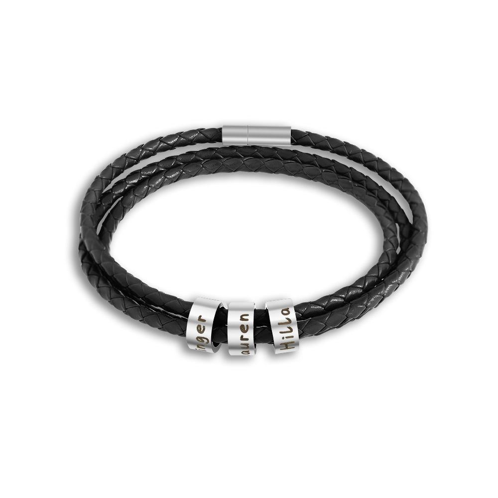 七彩皮绳珠子手链